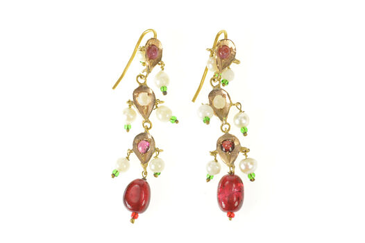 14K Victorian Ruby Pearl Tourmaline Fringe Dangle Yellow Gold Earrings