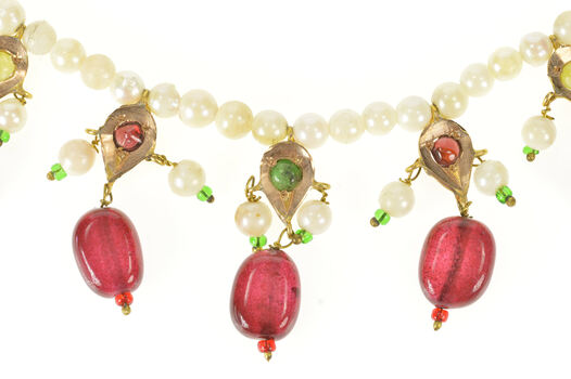 """14K Victorian Ruby Pearl Tourmaline Fringe Woven Yellow Gold Necklace 16"""""""