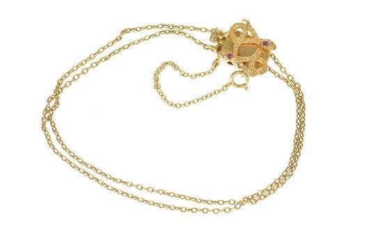14K Victorian Ruby Serpent Box Clasp Slide Charm Yellow Gold Bracelet, Size 8