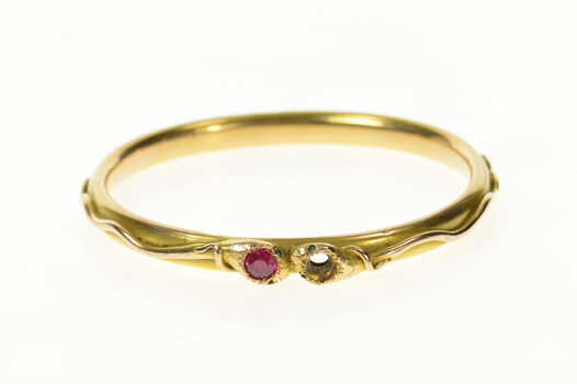"14K Victorian Ruby Snake Serpent Bangle Yellow Gold Bracelet 7.75"""