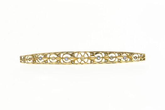 14K Victorian Sapphire Seed Pearl Diamond Bar Yellow Gold Pin/Brooch