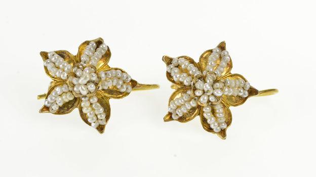 14K Victorian Seed Pearl Encrusted Flower Dangle Yellow Gold Earrings