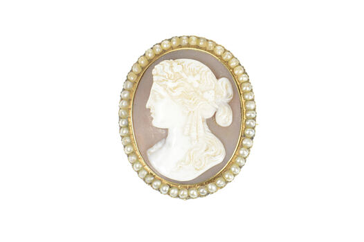 14K Victorian Seed Pearl Ornate Lady Cameo Yellow Gold Pin/Brooch