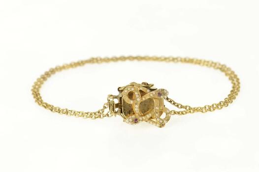 "14K Victorian Seed Pearl Ruby Snake Slide Charm Yellow Gold Bracelet 7.25"""