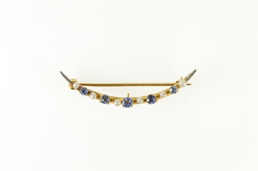 14K Victorian Seed Pearl Syn. Sapphire Crescent Moon Yellow Gold Pin/Brooch