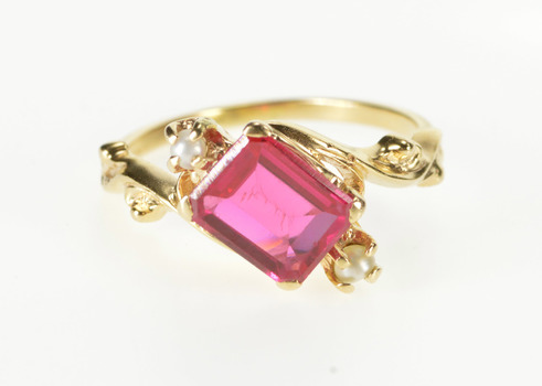 14K Victorian Seed Pearl Table Cut Syn. Ruby Yellow Gold Ring, Size 7