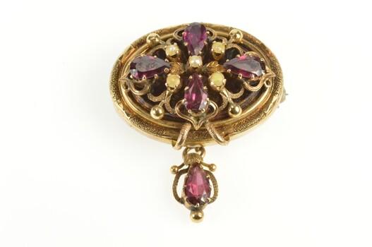 14K Victorian Seed Pearl Tourmaline Statement Yellow Gold Pin/Brooch