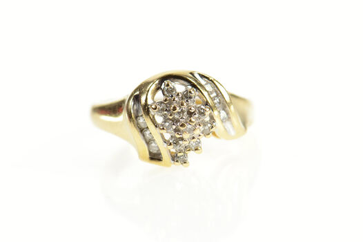 14K Wavy Bypass Diamond Cluster Statement Yellow Gold Ring, Size 6.75