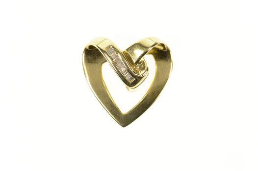14K Wavy Curvy Baguette Diamond Heart Love Yellow Gold Pendant