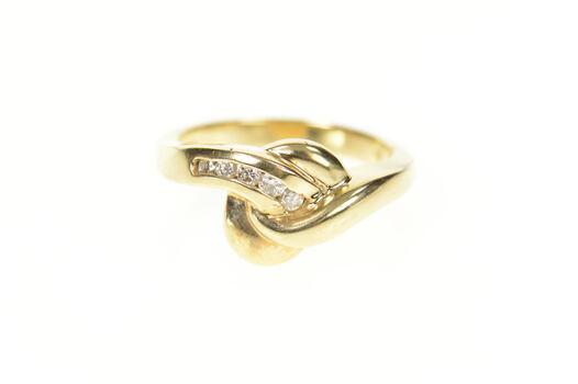 14K Wavy Curvy Design Diamond Statement Band Yellow Gold Ring, Size 6