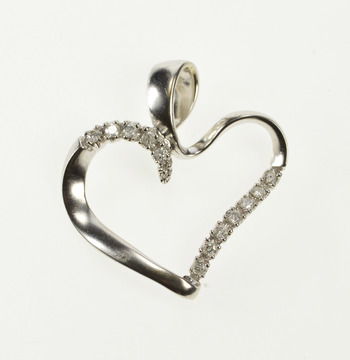 14K Wavy Curvy Diamond Inset Heart Love White Gold Pendant