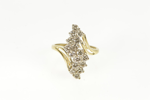 14K Wavy Diamond Cluster Statement Cocktail Yellow Gold Ring, Size 5.25