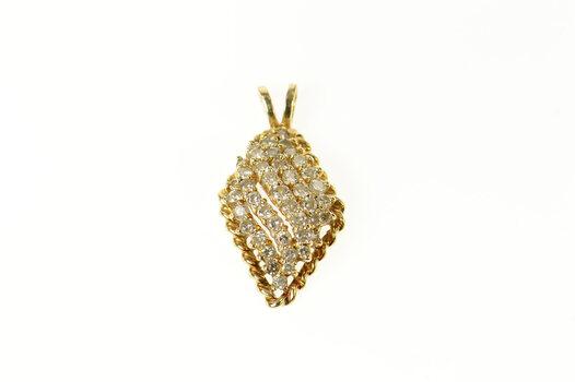 14K Wavy Marquise Diamond Cluster Statement Yellow Gold Pendant