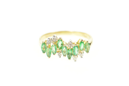 14K Wavy Marquise Syn. Emerald Diamond Band Yellow Gold Ring, Size 7.75