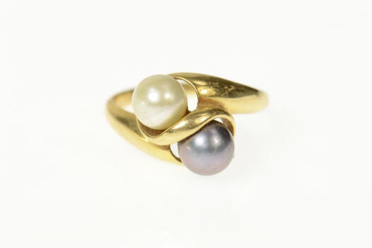 14K White & Grey Pearl Classic Bypass Yellow Gold Ring, Size 8