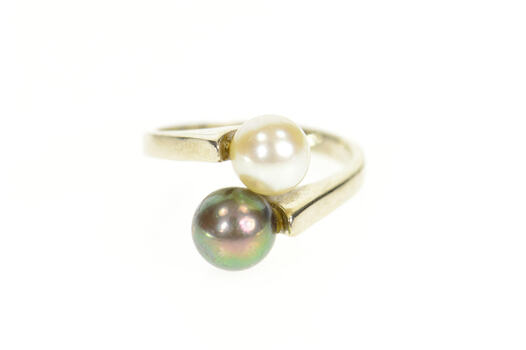 14K White & Tahitian Pearl Retro Ornate Bypass White Gold Ring, Size 6.5