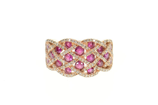 14K Woven Natural Ruby Diamond Pave Band Rose Gold Ring, Size 7