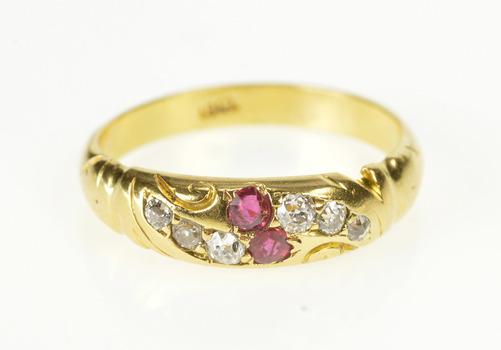 18K 0.27 Ctw Ornate 1940's Ruby Diamond Band Yellow Gold Ring, Size 6.75
