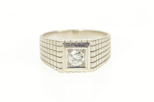 18K 0.36 Ct Men's Diamond Squared Wedding Band White Gold Ring, Size 8.75
