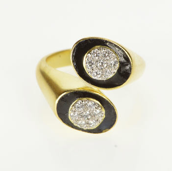 18K 0.42 Ctw Diamond Black Enamel Ornate Bypass Yellow Gold Ring, Size 6