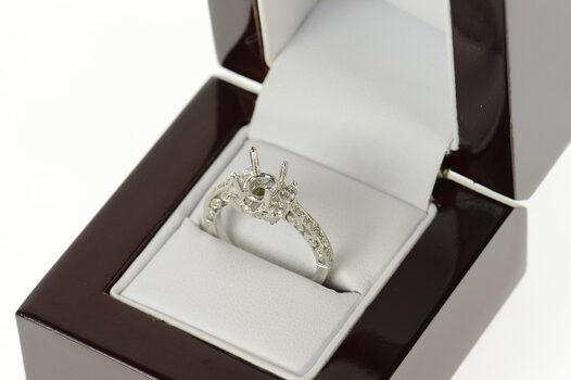 18K 0.43 Ctw Diamond 7.25mm Engagement Setting White Gold Ring, Size 6