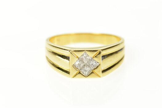 18K 0.46 Ctw Princess Diamond Squared Men's Yellow Gold Ring, Size 10.25