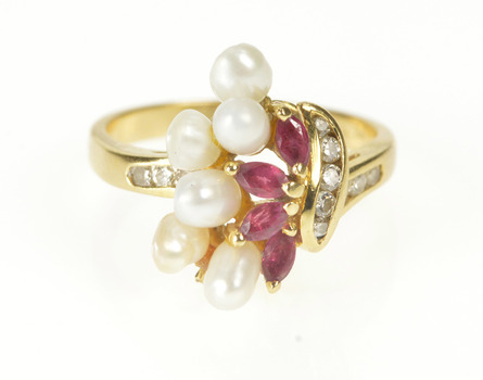 18K 0.70 Ctw Ruby Diamond Pearl Ornate Cluster Yellow Gold Ring, Size 6