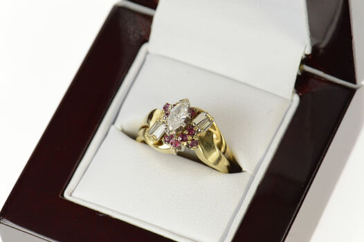 18K 0.73 Ctw Marquise Diamond Ruby Engagement Yellow Gold Ring, Size 5.25