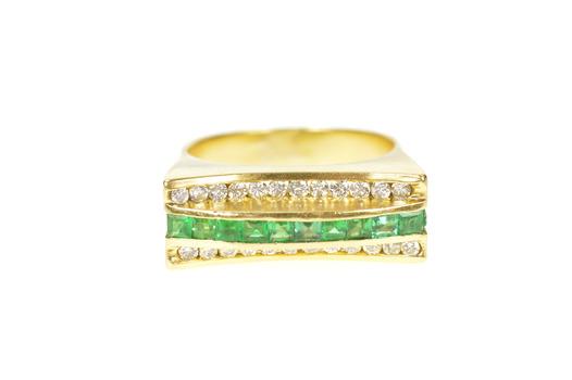 18K 0.81 Ctw Emerald Diamond Squared Statement Yellow Gold Ring, Size 7