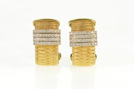 18K 0.88 Ctw Roberto Coin Primavera Diamond Yellow Gold Earrings