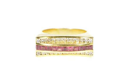 18K 0.90 Ctw Ruby Diamond Squared Statement Band Yellow Gold Ring, Size 7