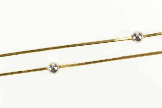 """18K 0.9mm Squared Snake Link Ball Beaded Chain Yellow Gold Necklace 15.5"""""""