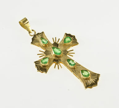 18K 1.00 Ctw Emerald Inset Cross Christian Symbol Yellow Gold Charm/Pendant
