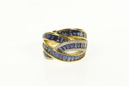 18K 10.25 Ctw Baguette Sapphire Diamond Wavy Yellow Gold Ring, Size 7.75