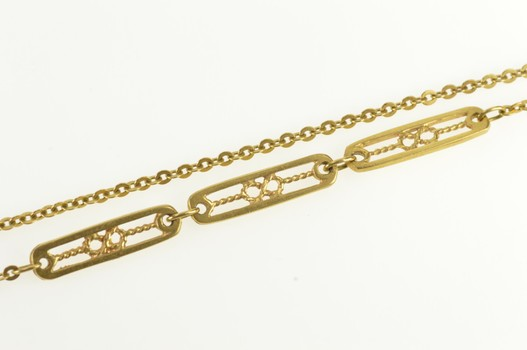 """18K 1.2mm Cable Link Infinity Filigree Bar Chain Yellow Gold Necklace 16"""""""