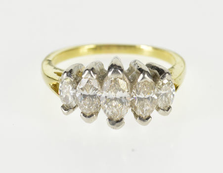 18K 1.33 Ctw Five Stone Marquise Diamond Band Yellow Gold Ring, Size 6.25