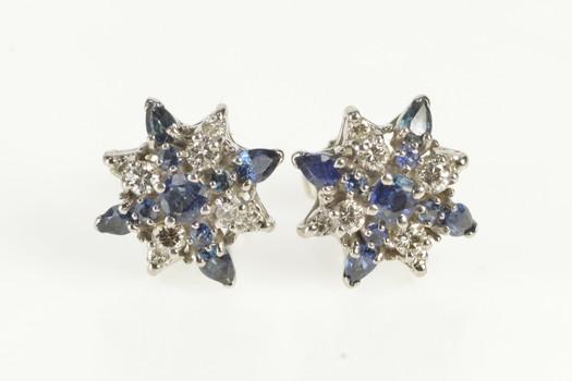 18K 1.40 Ctw Sapphire Diamond Cluster Stud White Gold Earrings