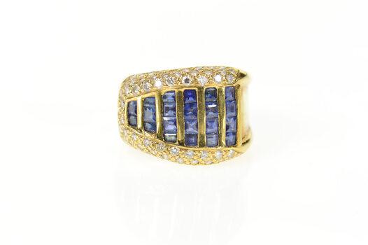 18K 1.46 Ctw Graduated Princess Sapphire Diamond Yellow Gold Ring, Size 6.75
