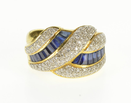 18K 1.78 Ctw Sapphire Pave Diamond Wavy Design Yellow Gold Ring, Size 6.5