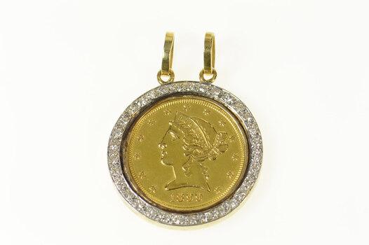 18K 1899 Liberty Head Half Eagle $5 Coin Diamond Yellow Gold Pendant