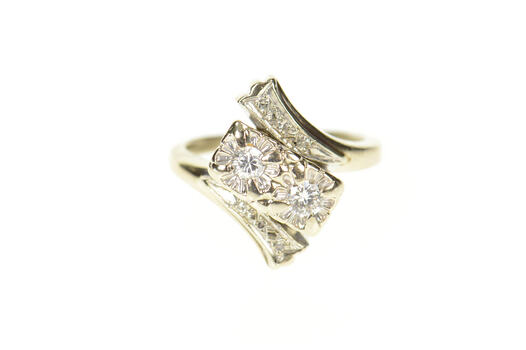 18K 1940's Diamond Bypass Promise Engagement White Gold Ring, Size 5