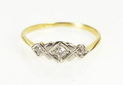 18K 1940's Diamond Three Stone Engagement Yellow Gold Ring, Size 6.25
