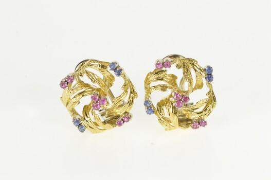 18K 2/3 Ctw Ruby Sapphire Diamond Retro Wreath Yellow Gold Earrings