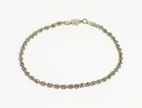 """18K 2.7mm Rope Link Chain Rolling Fancy White Gold Bracelet 6.8"""""""