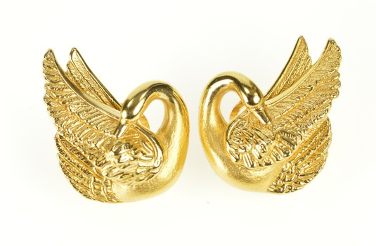18K 3D Repousse Swan Ornate Statement French Yellow Gold Earrings