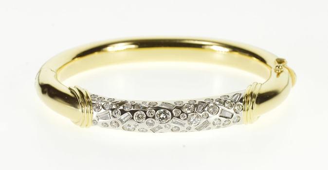 "18K 4.12 Ctw Diamond Flush Encrusted Ornate Bangle Yellow Gold Bracelet 7"""