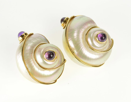 18K Amethyst Mother of Pearl Conch Shell Ornate Yellow Gold Earrings