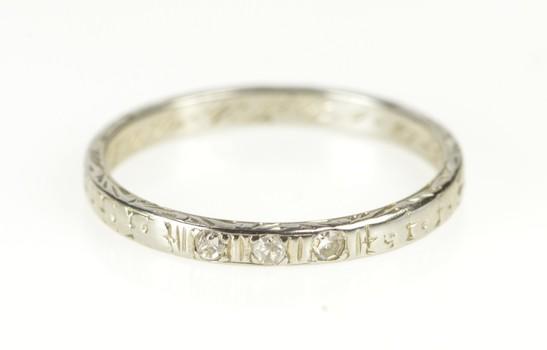 18K Art Deco Diamond Blossom Wedding Band White Gold Ring, Size 5