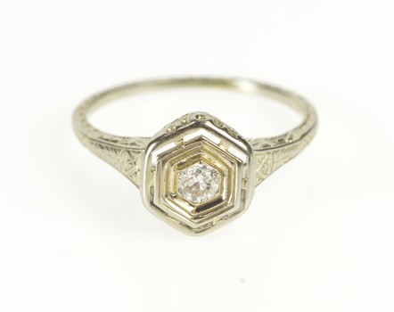 18K Art Deco Diamond Solitaire Filigree Engagement White Gold Ring, Size 5