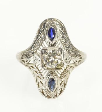 18K Art Deco Filigree Diamond Sapphire Engagement White Gold Ring, Size 6